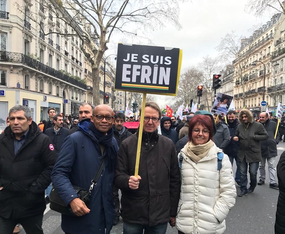 Ibrahm Dufriche-Soilihi en solidarité avec les kurdes et la résistance d'Efrin et du Rojava