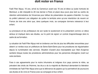 Fadil, lycéen montreuillois et futur père, doit rester en France