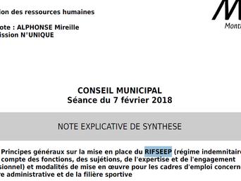 RIFSEEP : délibération portée par Mireille Alphonse au Conseil Municipal du 7 février 2018