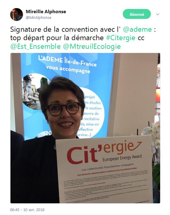 """Signature d'un contrat d'engagement """"Citergie"""" avec l'Ademe ! Cette démarche permettra à Est Ensemble d'améliorer  son Plan Climat Air Énergie Territorial via une méthodologie, un suivi de projet et une évaluation reconnue au niveau européen."""