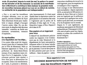 Communiqué : Montreuil Écologie aux côtés des sans-papiers