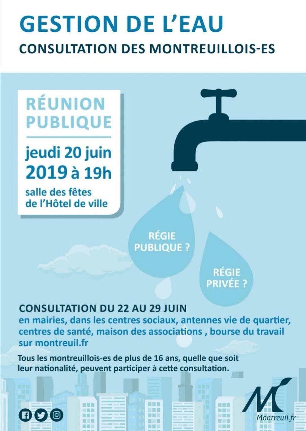 Retrouvez-nous jeudi 20 juin 2019 à 19h à la salle des fêtes de l'Hôtel de Ville pour échanger sur la consultation des Montreuillois·es sur la gestion de l'eau