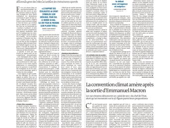 Anne-Marie Heugas dans Le Monde s'exprime sur les Jeux Olympiques