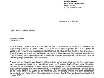 Consultation citoyenne sur l'Eau : le groupe Montreuil Écologie adresse un courrier au Maire de