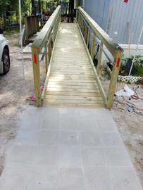 Wheel chair ramp with 5x5 pavers