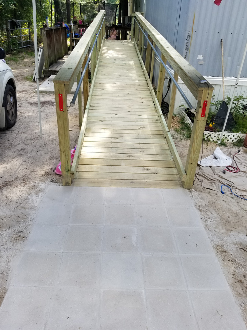 Wheel chair ramp with 5x5 pavers