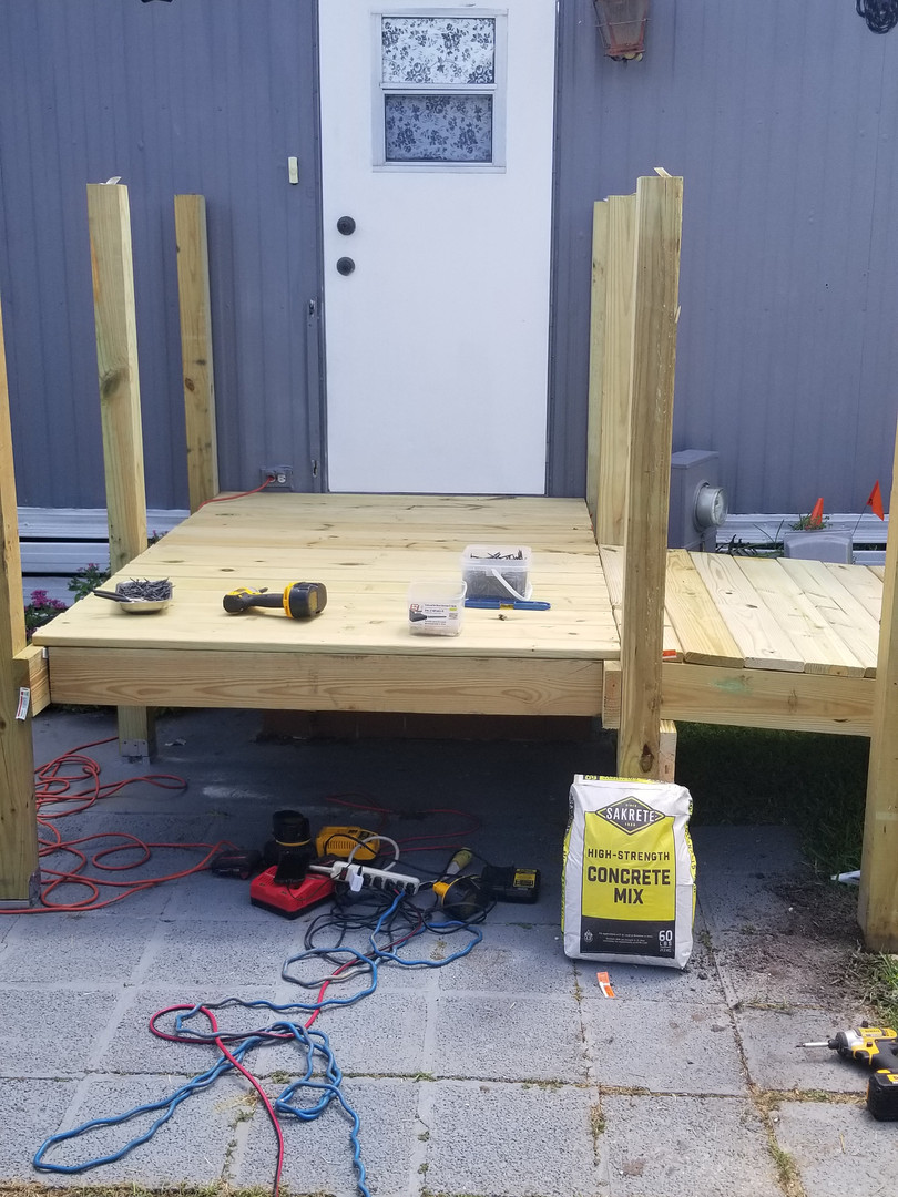wheel chair ramp being built