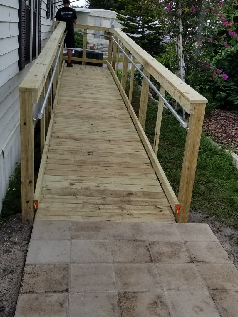 Wheel chair ramp near completion