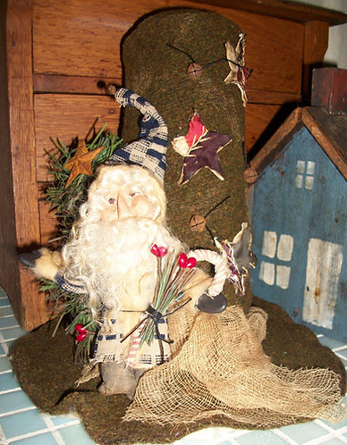 Santa standing on Snowman Hat