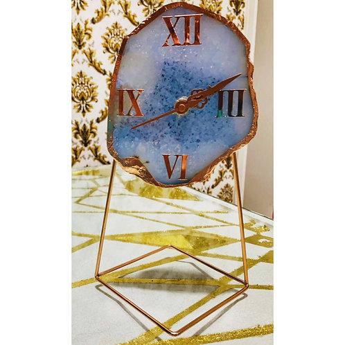 Agate Table Clock- Blue