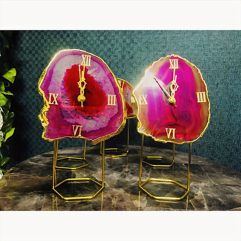 Agate Table Clock- Pink