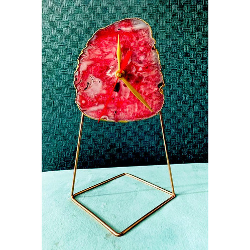 Agate Table Clock-Red
