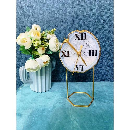 Agate Table Clock- White