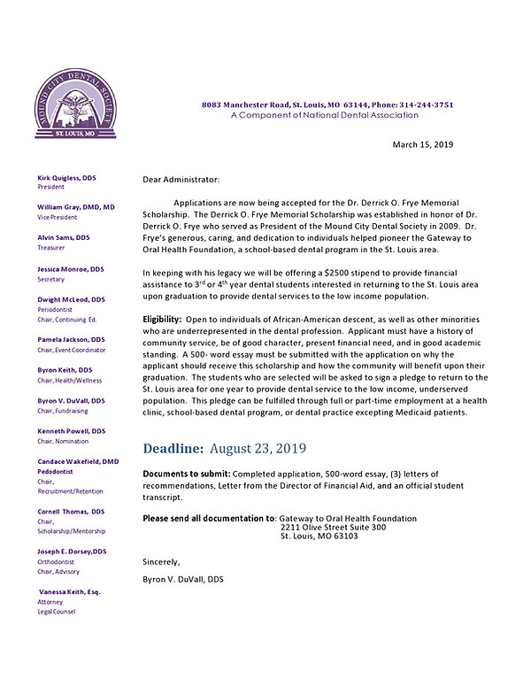 Derrick Frye Scholarship  Notification (