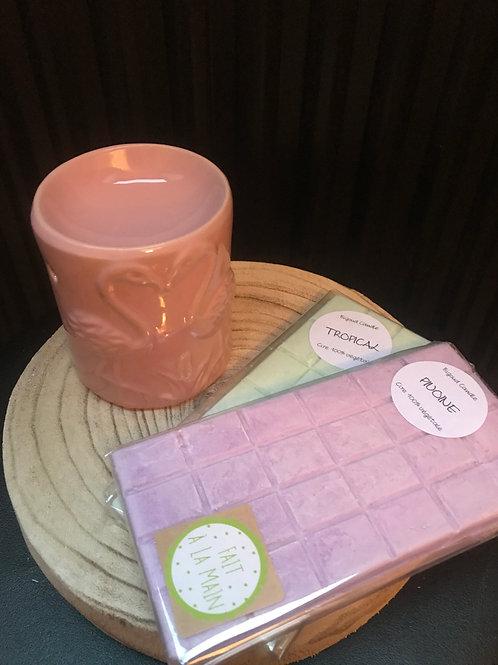 Coffret tablette avec brûleur flamant rose