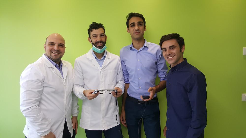 Nicola Arena e Alessandro Calvino coi Dottori Christian e Jonathan Mulas