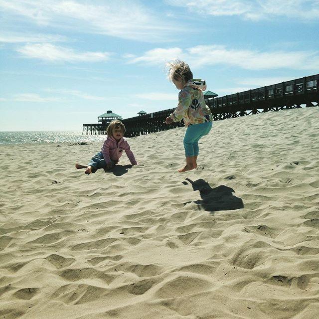 My kiddos jumping on Folly Beach