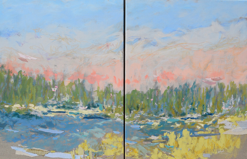 Tidal Trail Diptych, 2018, Mixed Media with Hand-dyed Fabric on Linen, 28h x 22w inches, $2700.