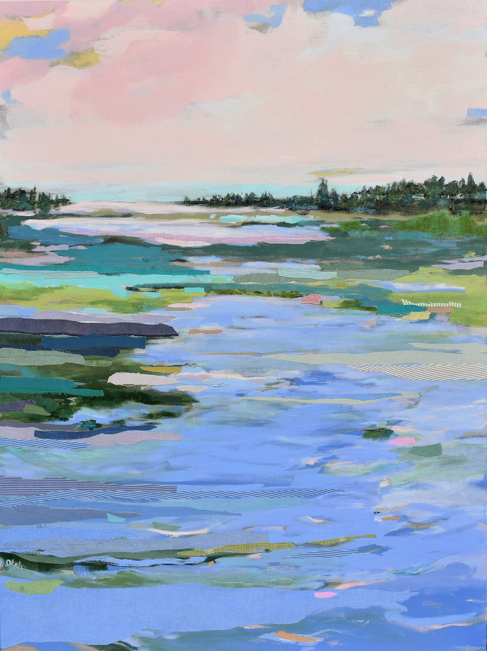 Bay Blush by Karin Olah, mixed media with hand-dyed fabric on linen, 48x36 inches