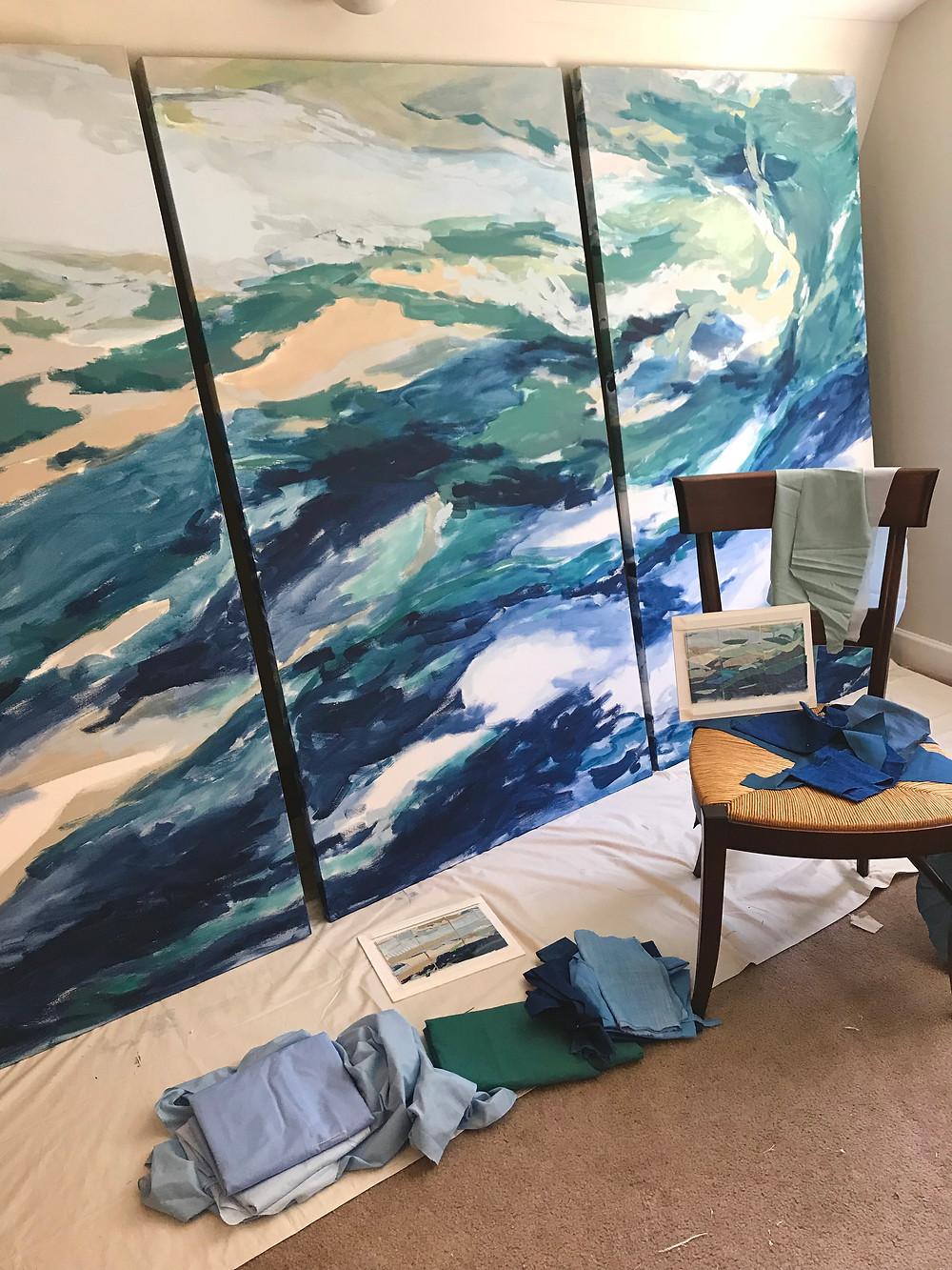 Karin Olah, Sea Wall, 2018, Textiles and Mixed Media on Canvas