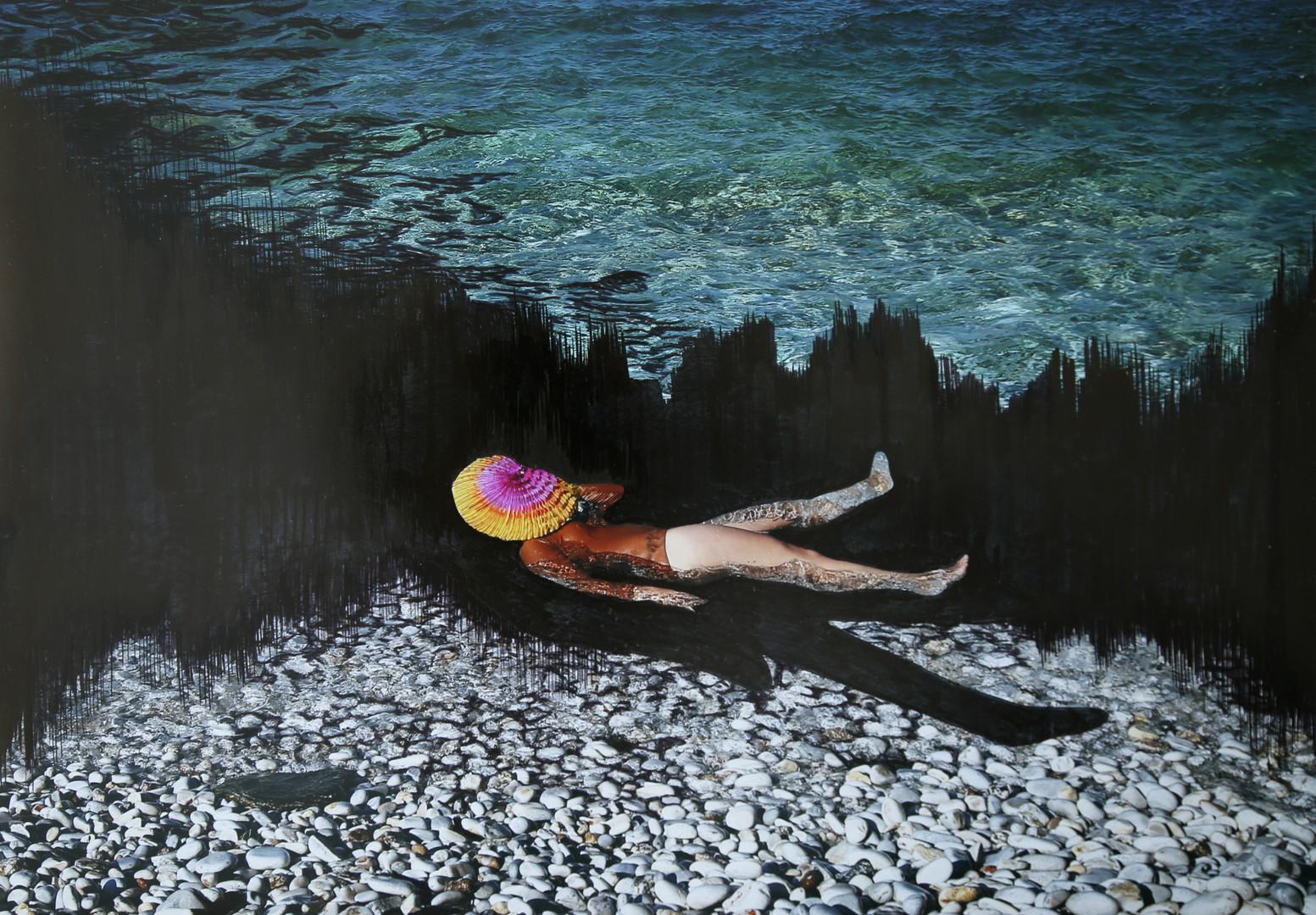 Floating on stones.