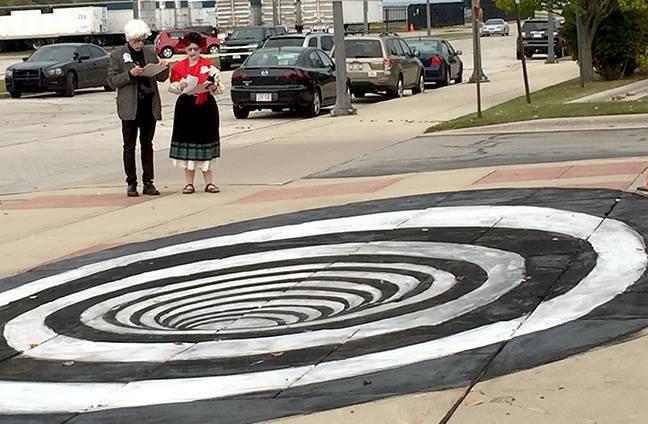 black hole chalk art