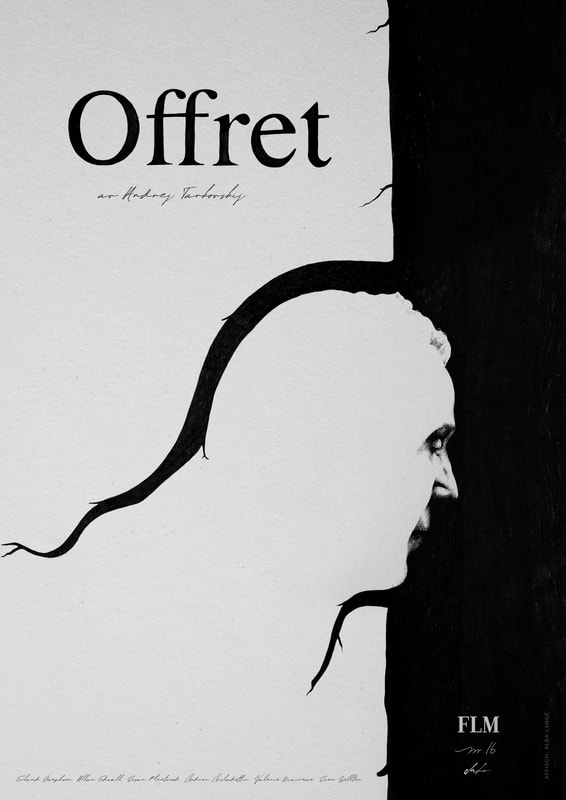 Film poster for Offret (by Andrei Tarkovsky, for the magazine FLM)