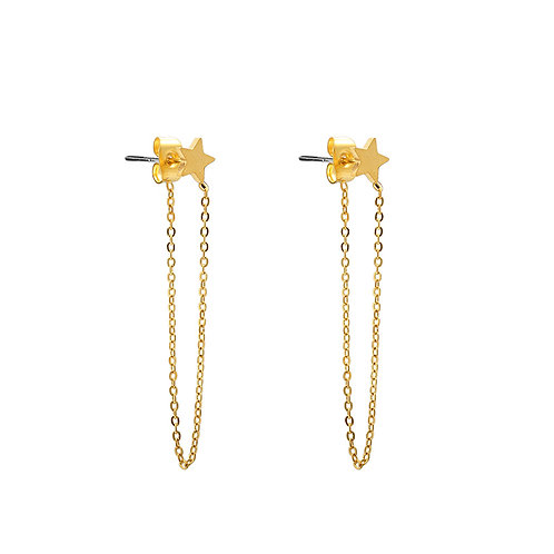 Earrings chain with star
