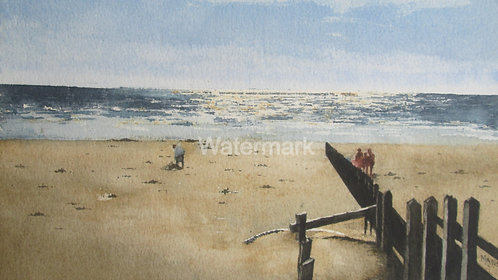 Sunlit Sea at Barmouth - Original Watercolour by William Mans