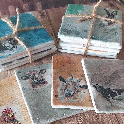 Happy Farm - Individual Ceramic Coasters