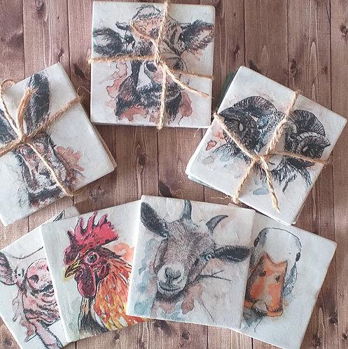 Farmyard Animal Portraits - Individual Ceramic Coasters -