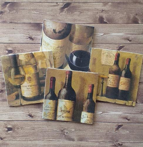 Vintage Wine Bottles - Individual Ceramic Coasters