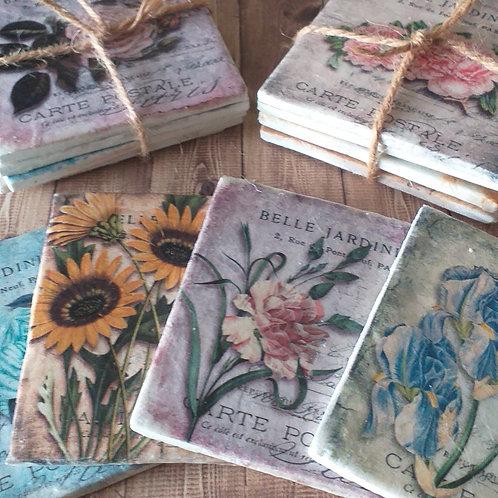 Vintage Florals: Belle Jardiniere - Individual Ceramic Coasters