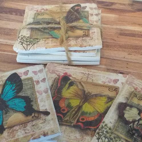 Vintage Butterflies - Individual Ceramic Coasters