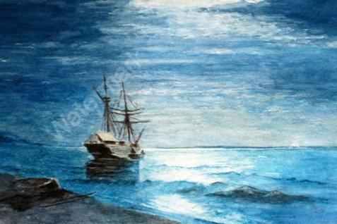 Moonlight - Original Watercolour by William Mans
