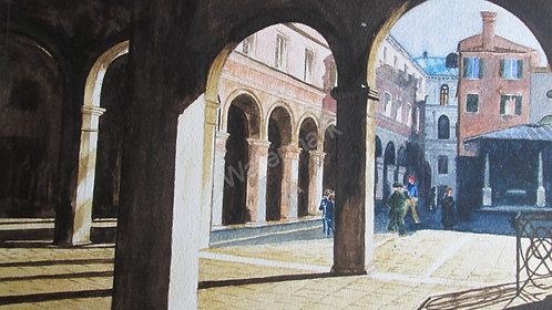 A Piazza off the Rialto Market- Original Watercolour by William Mans