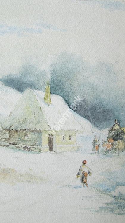 Snowfall - Original Watercolour by William Mans