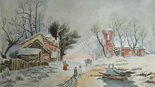 Gathering Winter Fuel - Original Watercolour by William Mans
