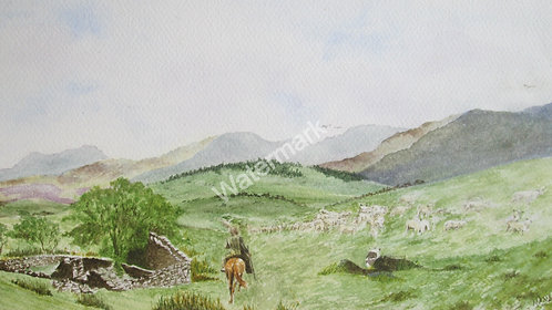 Moving the Flock - Original Watercolour by William Mans