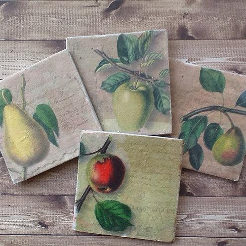 Vintage Fruit Images - Individual Ceramic Coasters