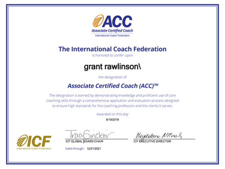 Grant 'Axe' Rawlinson attains ICF Associate Certified Coach (ACC) accreditation