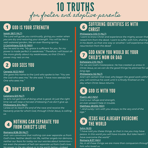 Freebie! 10 Truths for Foster & Adoptive Parents