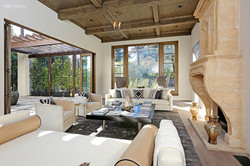 Fireplace and family room in mansion