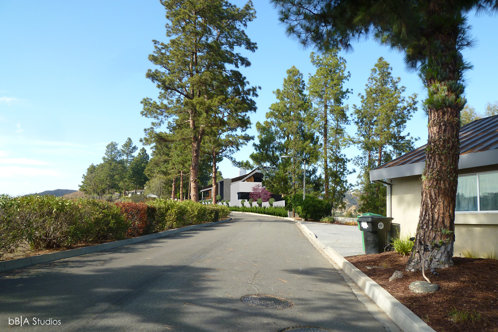 Driveway of modern home on hillside