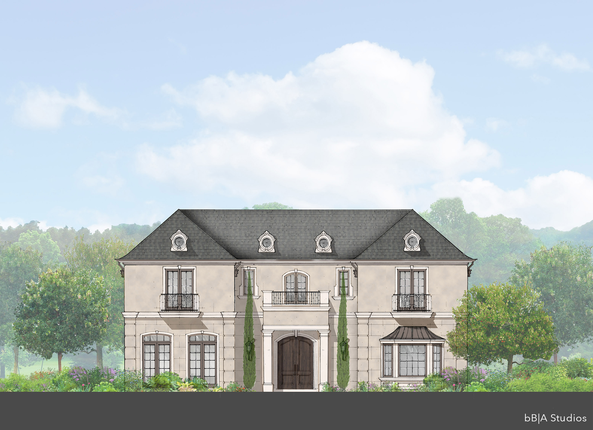 French Estate Rendering, Beverly Hills