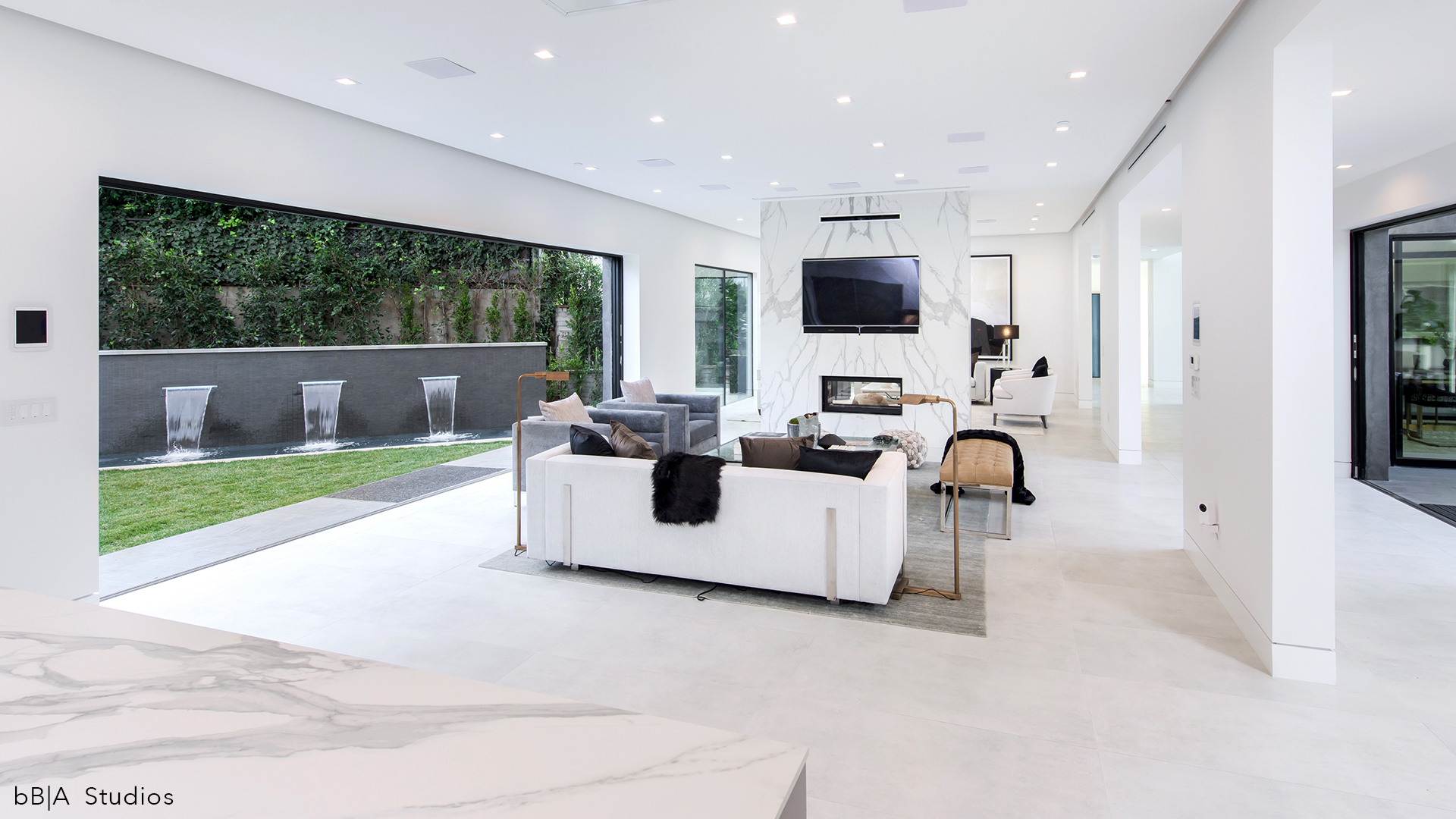Family Room and Outdoor Fountain