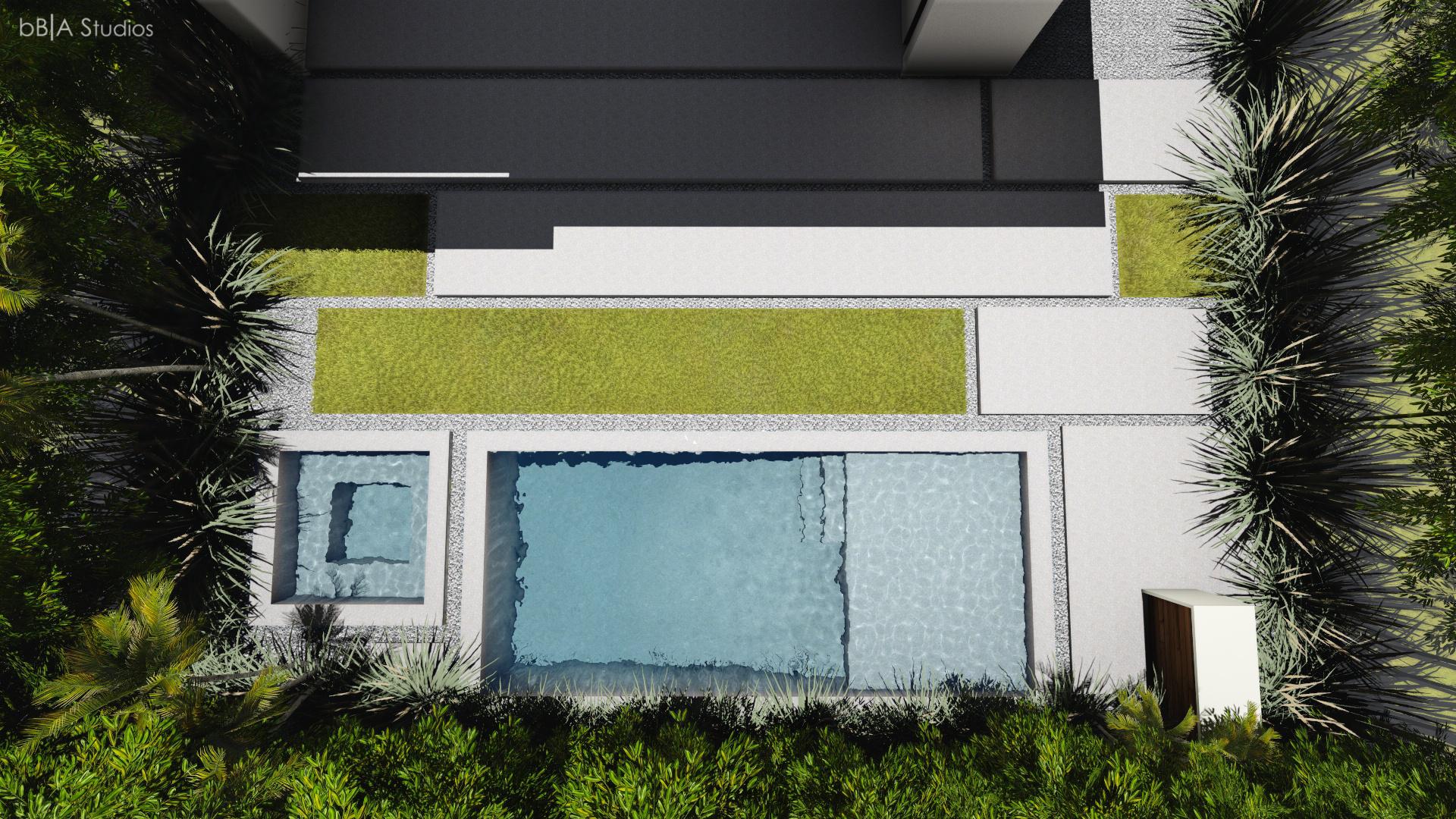 Top view of rear yard rendering