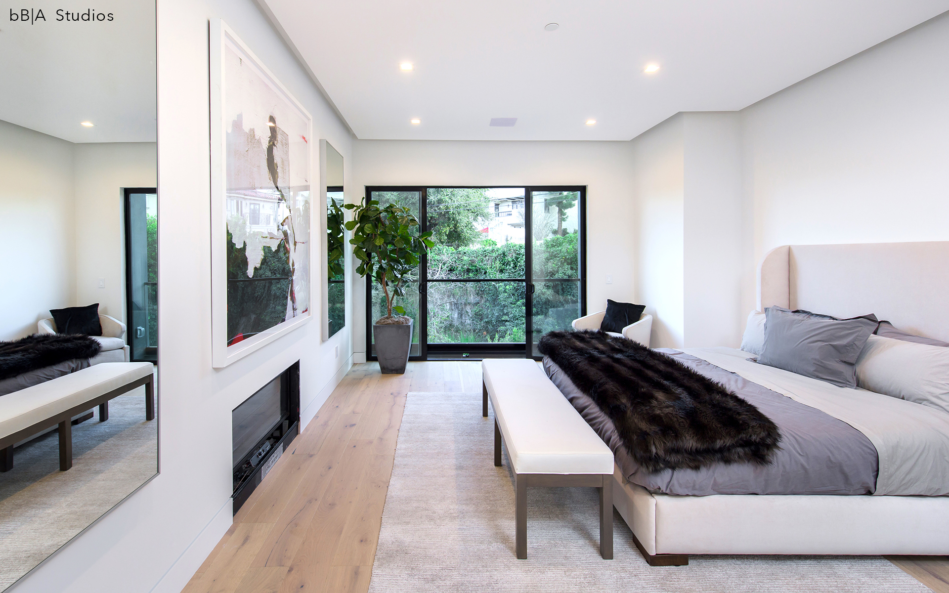 Angled view of Modern Bedroom