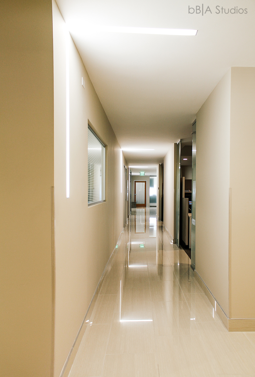 Modern Office Lighted Hallway