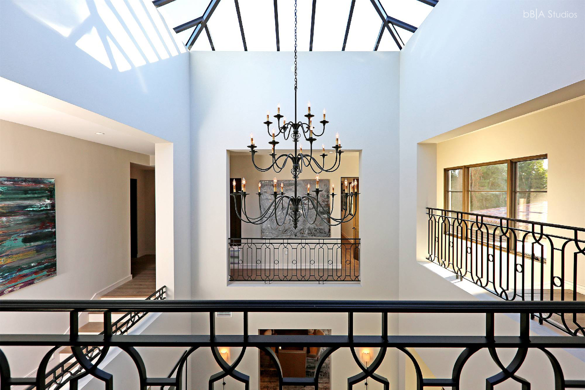 Second floor landing and chandelier